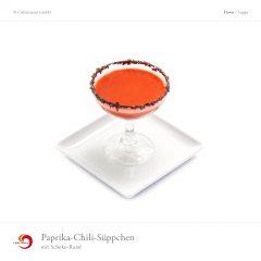 Paprika-Chili-Süppchen mit Schoko-Rand