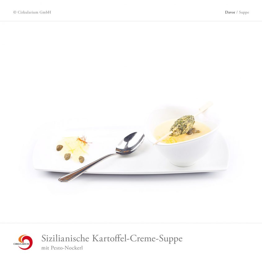 Sizilianische Kartoffel-Creme-Suppe mit Pesto-Nockerl