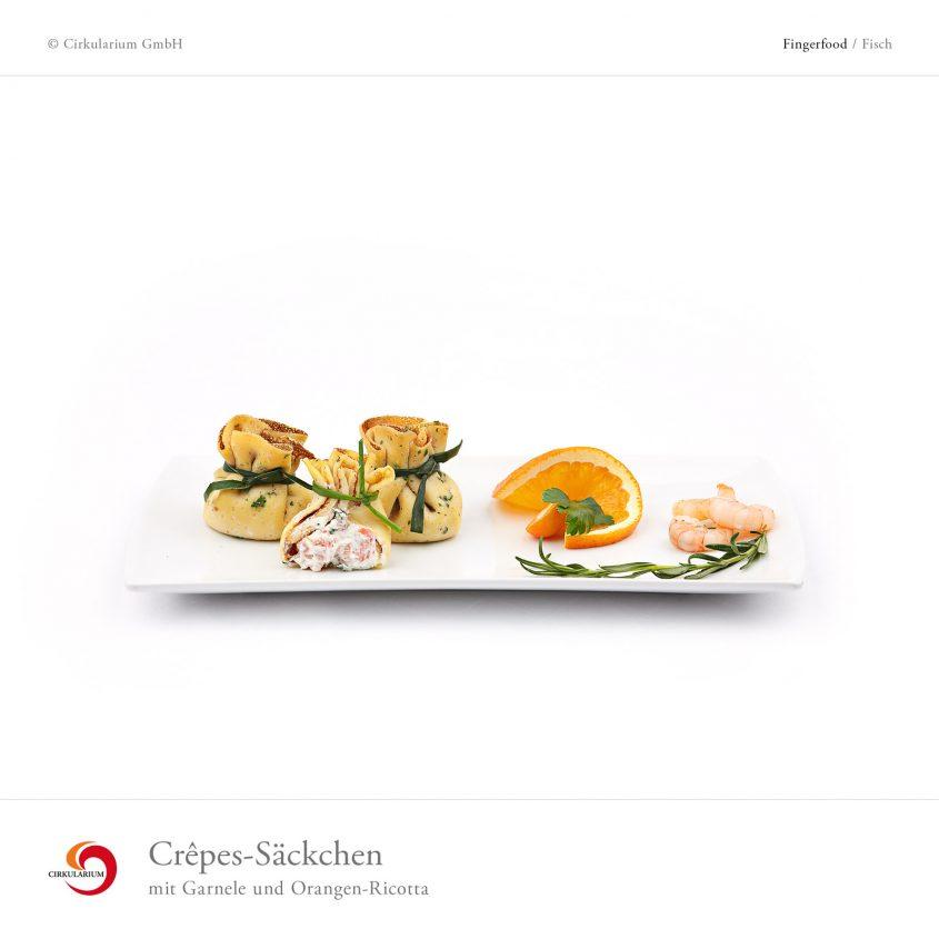 Crêpes-Säckchen mit Garnele und Orangen-Ricotta