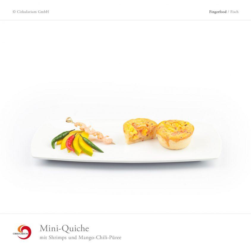 Mini-Quiche mit Shrimps und Mango-Chili-Püree