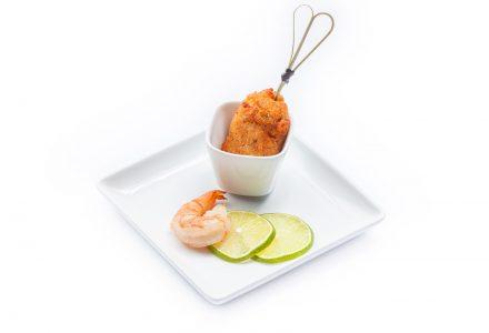 Shrimps-Nockerl mit Sauce-Tatar a l'orange mit Chili