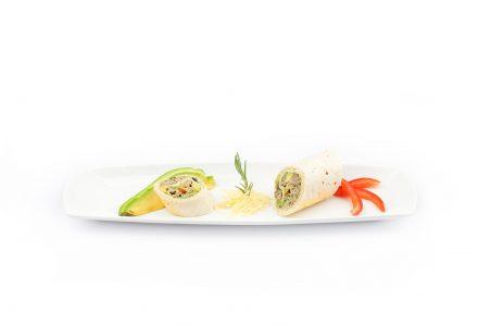 Tortilla-Röllchen mit Thunfisch a l'orange und Avocado