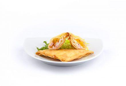 Wan Tan Ecke kross gebacken mit würzigen Garnelen