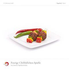 Feurige Chilibällchen-Spieße mit bunten Paprikawürfeln