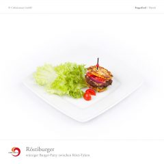 Röstiburger - würziger Burger-Patty zwischen Rösti-Talern