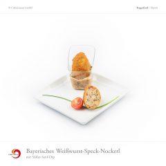 Bayerisches Weißwurst-Speck-Nockerl mit Süßer-Senf-Dip