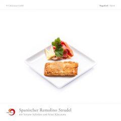 Spanischer Remolino Strudel mit Serrano-Schinken und feiner Käsecreme