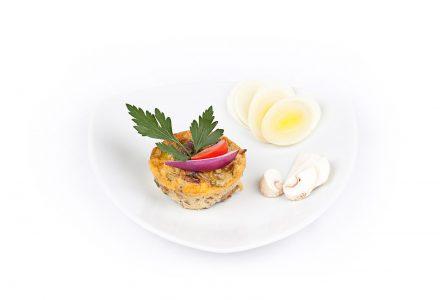 Omelette-Törtchen mit Champignons und Lauch