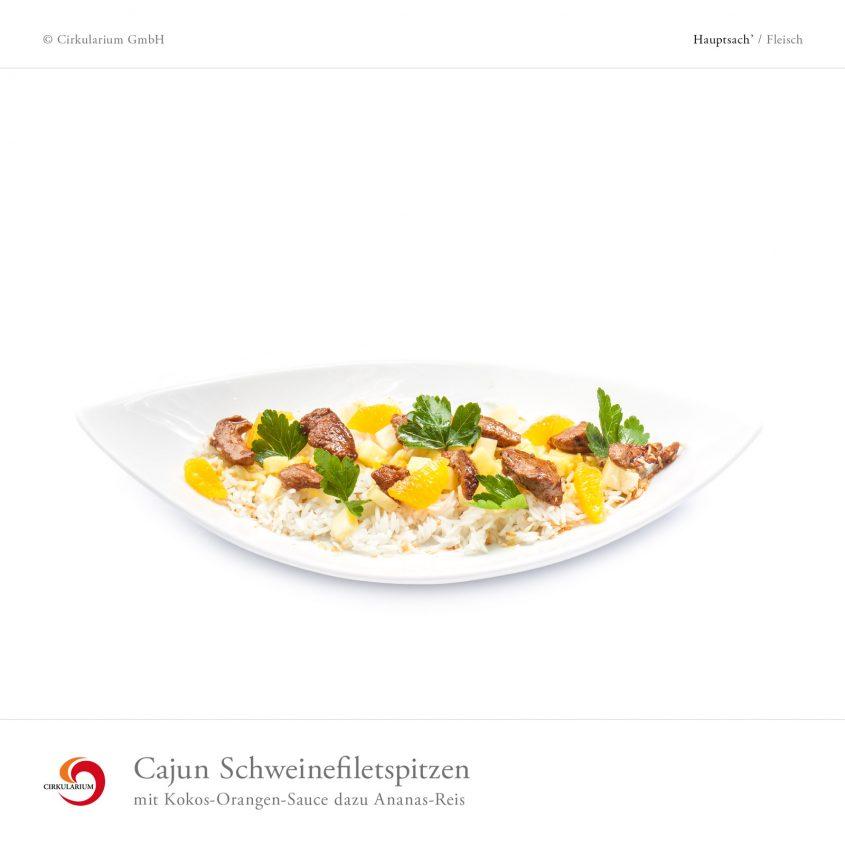 Cajun Schweinefiletspitzen mit Kokos-Orangen-Sauce dazu Ananas-Reis