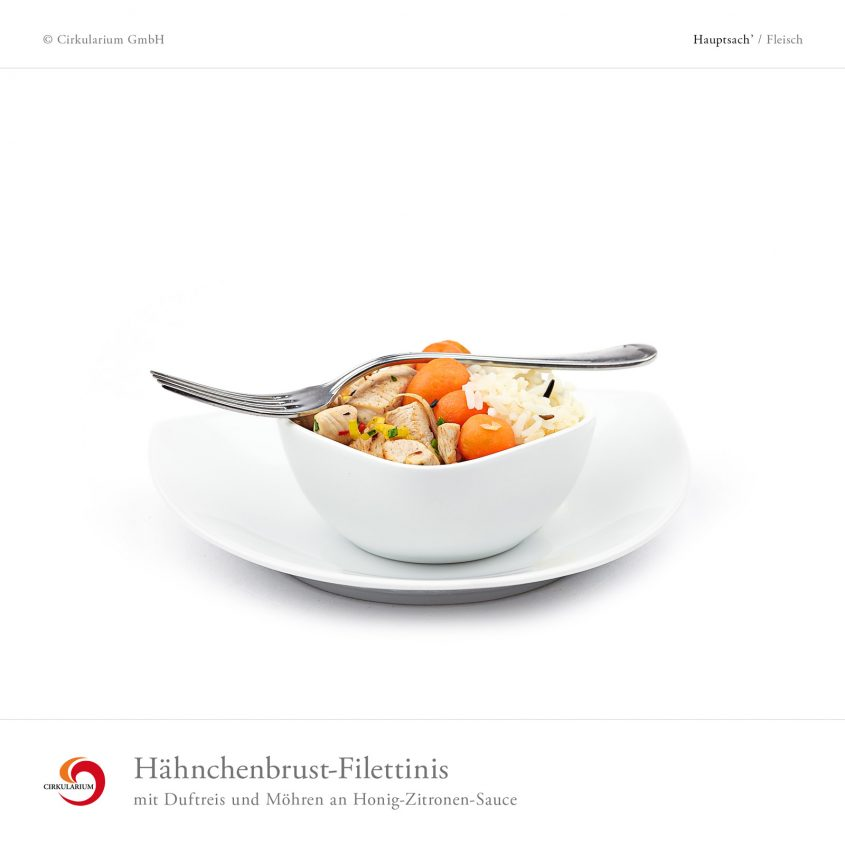 Hähnchenbrust-Filettinis mit Duftreis und Möhren an Honig-Zitronen-Sauce