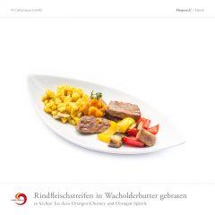Rindfleischstreifen in Wacholderbutter gebraten in leichter Jus dazu Orangen-Chutney und Orangen-Spätzle