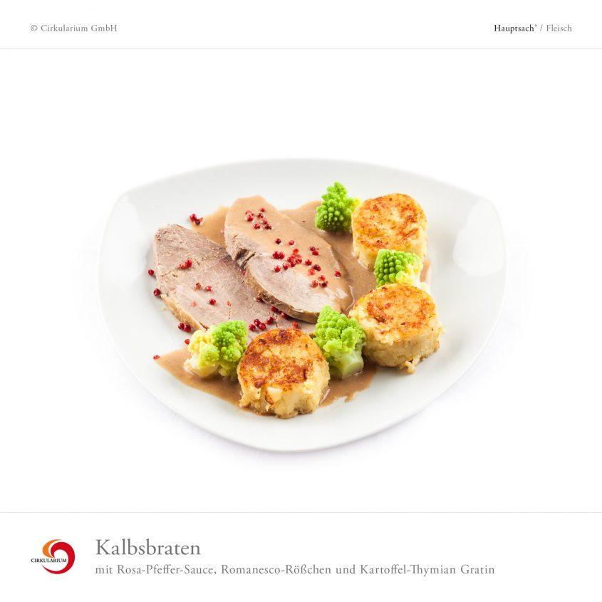 Kalbsbraten mit Rosa-Pfeffer-Sauce, Romanesco-Rößchen und Kartoffel-Thymian Gratin